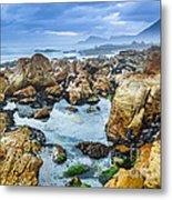 Misty Cliffs Iv Metal Print
