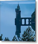 Misty Dawn And The Filter Tower Metal Print by Pete Reynolds