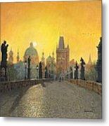 Misty Dawn Charles Bridge Prague Metal Print by Richard Harpum