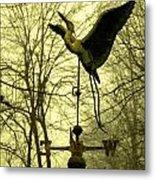 Misty Egret - Gold Metal Print