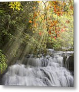 Misty Falls At Coker Creek Metal Print