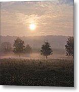 Misty Farm At Sunrise Metal Print