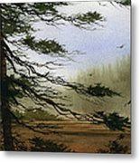 Misty Forest Bay Metal Print
