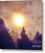 Misty Forest Sunrise Metal Print