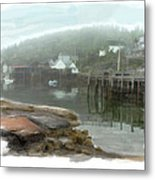 Misty Harbor Metal Print
