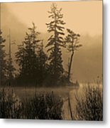 Misty Lake And Trees Silhouette Metal Print