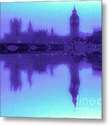 Misty London Reflection Metal Print
