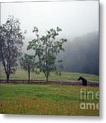 Misty Morning At The Farm Metal Print