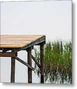 Misty Morning By The Dock Metal Print