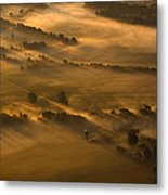 Misty Morning Farmland Metal Print