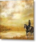 Misty Morning Horseback Ride Metal Print