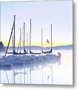 Misty Morning Sailboats Metal Print