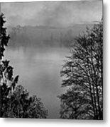 Misty Morning Sunrise Black And White Art Prints Metal Print