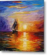 Misty Ship - Palette Knife Oil Painting On Canvas By Leonid Afremov Metal Print