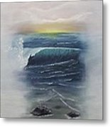 Misty Sun Set Metal Print