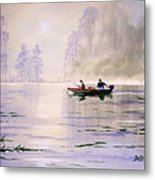 Misty Sunrise On The Lake Metal Print