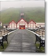 Misty View Of Victorian Pier  Redcar Metal Print