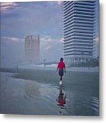 Misty Walk On Daytona Morning Metal Print
