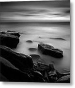 Misty Water Black And White Metal Print