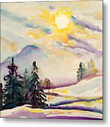 Misty Winter Afternoon In The Alps Metal Print