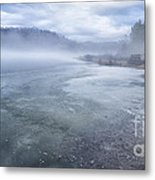 Misty Winter Morning On Lake Metal Print