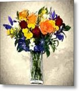 Mixed Bouquet Of Tropical Colored Flowers On Textured Vignette Oil Painting Metal Print