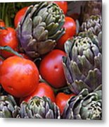 Articholes And Tomatoes Metal Print