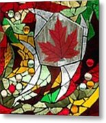 Mosaic  Stained Glass - Canadian Maple Leaf Metal Print