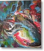 Mobie Joe The Whale-original Abstract Whale Painting Acrylic Blue Red Green Metal Print