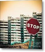 Mobile Photography Toned Stop Sign And Condo Units Metal Print