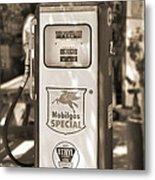 Mobilgas Special - Tokheim Pump  - Sepia Metal Print by Mike McGlothlen