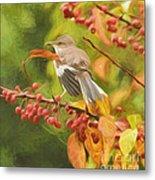 Mockingbird And Berries Metal Print