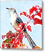 Mockingbird In The Leaves - Watercolor Metal Print