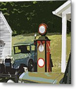 Model A Ford And Old Gas Station Illustration  Metal Print