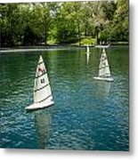 Model Boats On Conservatory Water Central Park Metal Print