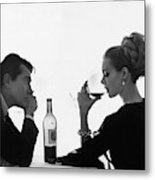 Man Gazing at Woman Sipping Wine Metal Print