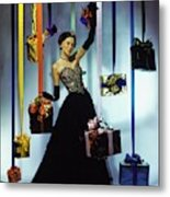 Model Wearing An Evening Gown Among Gifts Metal Print