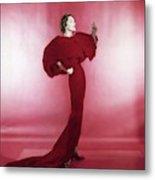 Model Wearing Red Evening Dress Metal Print