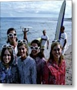 Models And Surfers On A Beach Metal Print