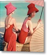Models At A Beach Metal Print