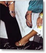 Models' Feet Wearing Metallic Sandals Metal Print