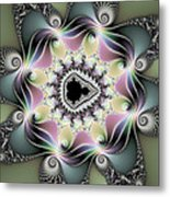 Modern Abstract Fractal Art Metallic Colors Square Format Metal Print