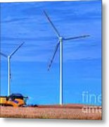 Modern Agriculture And Wind Turbines Metal Print