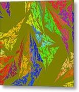 Modern Art Abstract Fractal Green Background Metal Print
