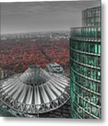 Modern Building With Autumn Forest Metal Print