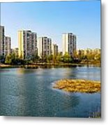 Modern Buildings Close To The Pond Metal Print