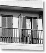 modern pvc sun shutter blinds on balcony doors and windows of house in tacoronte Tenerife Canary Islands Spain Metal Print