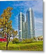 Modern Twin Tower In City Of Zagreb Metal Print