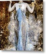 Modern Vintage Lady In Blue Metal Print