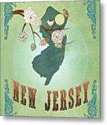 Modern Vintage New Jersey State Map  Metal Print